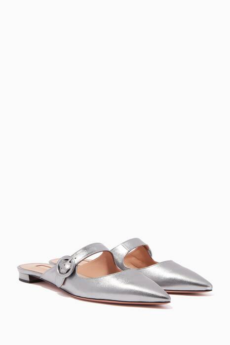 Silver Blossom Point-Toe Flats