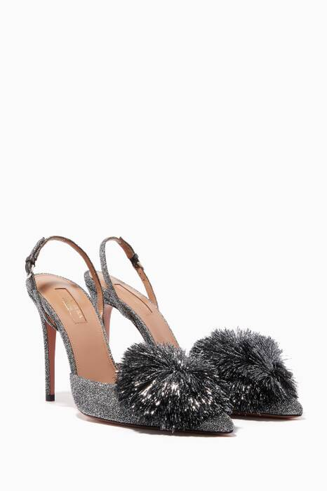 Silver Lurex Powder Puff Slingback Pumps