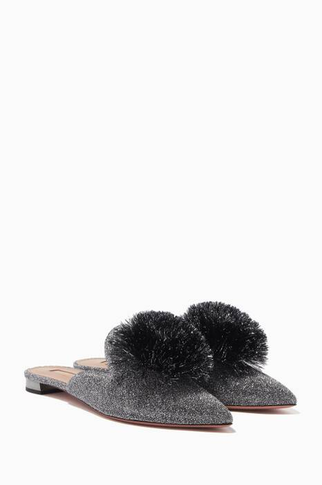 Silver Lurex Powder Puff Slippers