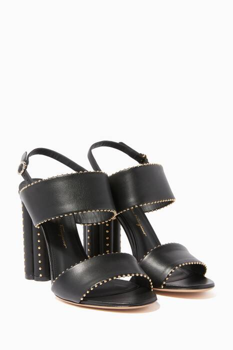 Black Stud-Detail Capri Sandals