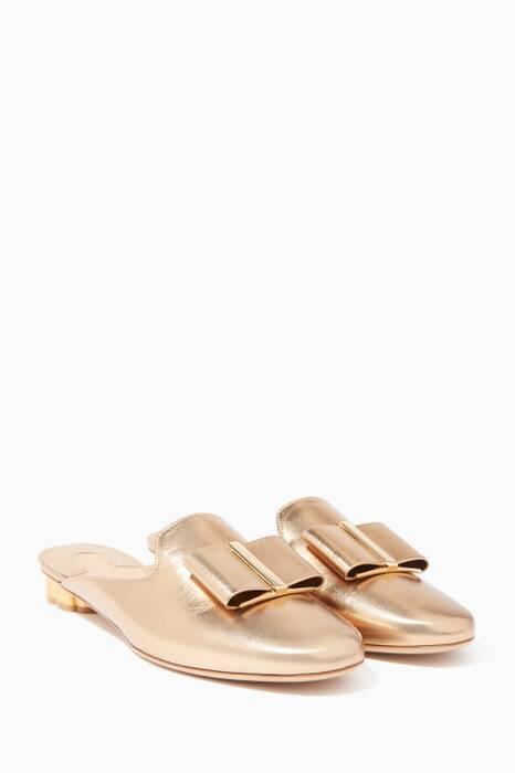 Gold Sciacca T Bow Mules