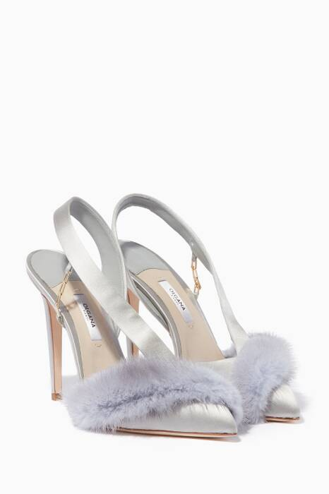Grey La Favorite Mink-Trimmed Pumps