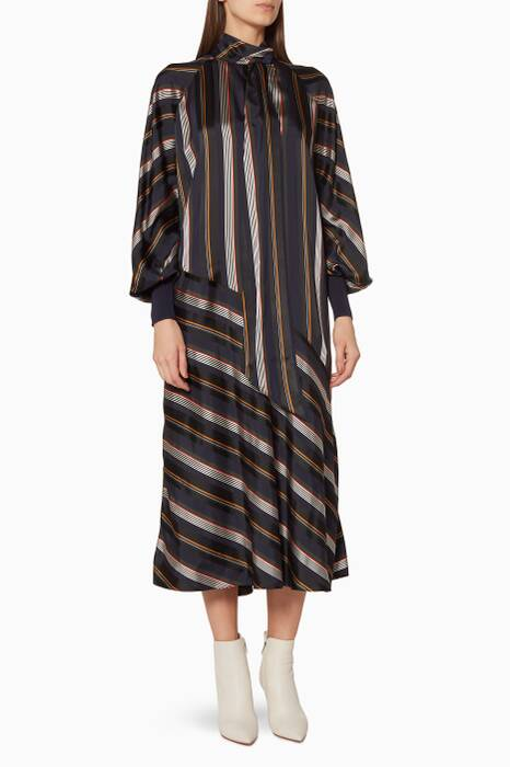 Multi-Coloured Striped Odelle Midi Dress