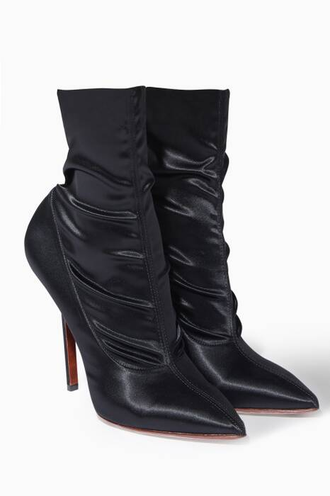 Black Satin Point-Toe Ruched Ankle Boots