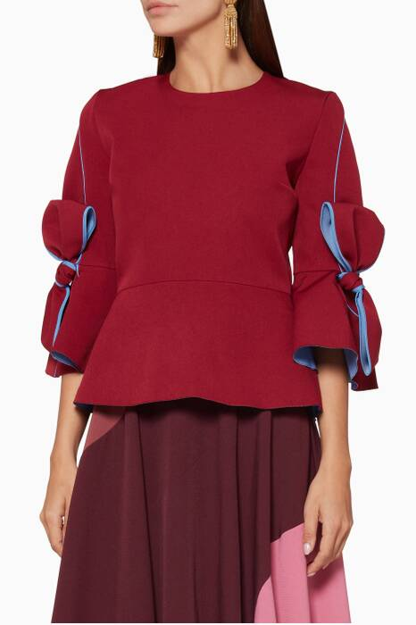 Burgundy Kemi Bow-Detail Peplum Top