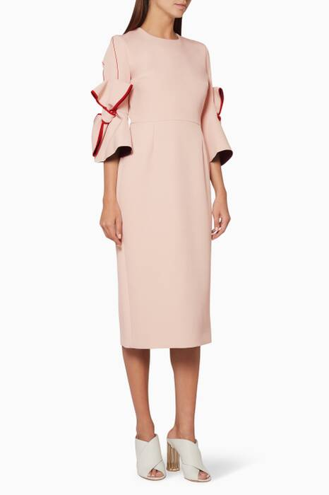 Light-Pink Lavete Bow-Detailed Midi Dress