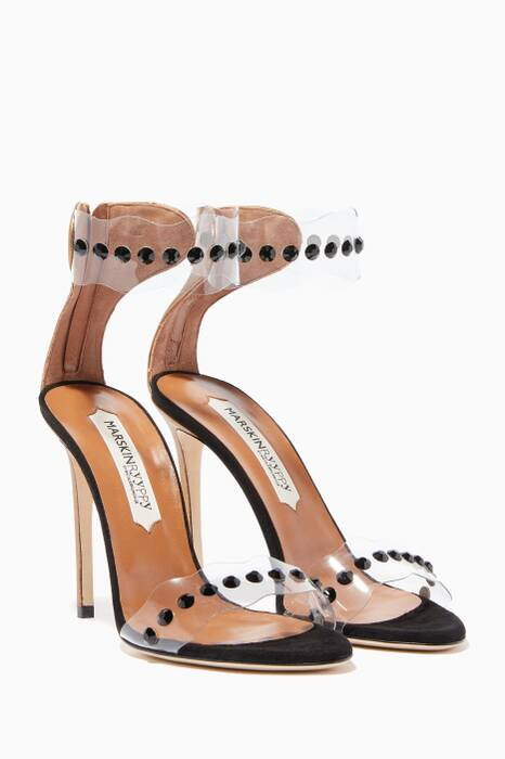 Black Pauwau Plexi Embellished Sandals