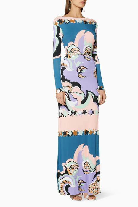 Multi-Coloured Printed Edie Maxi Dress