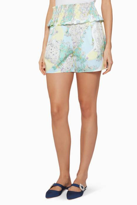 Mint-Green Printed Floridiana Shorts