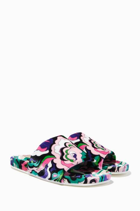 Multi-Coloured Paisley-Print Slides