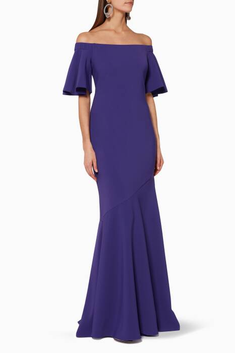 Purple Off-The-Shoulder Gown