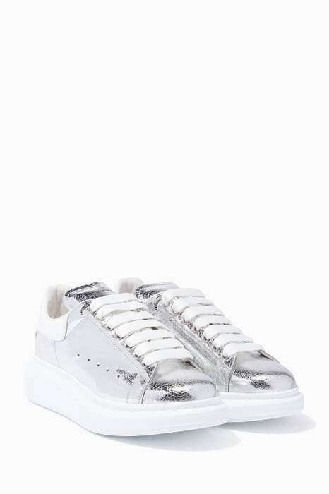 Silver Leather Oversized Sneakers