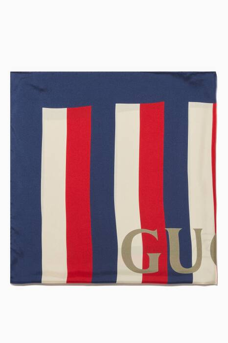 Multi-Coloured Striped Sylvie Logo Silk Scarf
