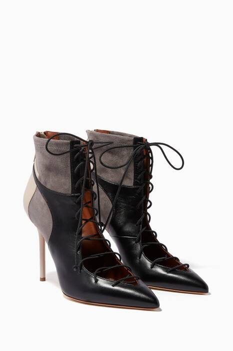 Black & Grey Montana Lace-Up Booties