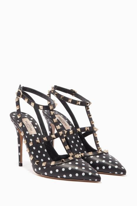 Monochrome Polka-Dot Rockstud Pumps