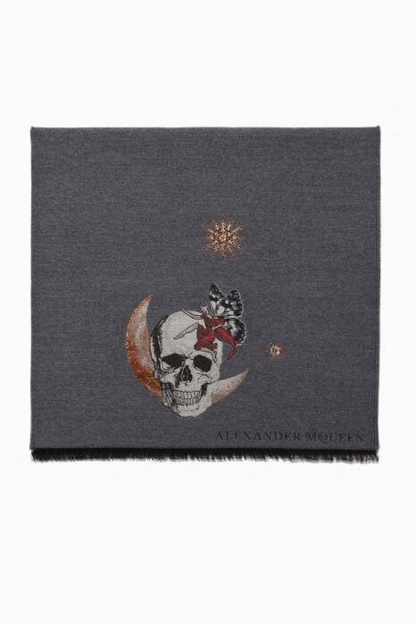 Grey Moonlight Embroidered Scarf