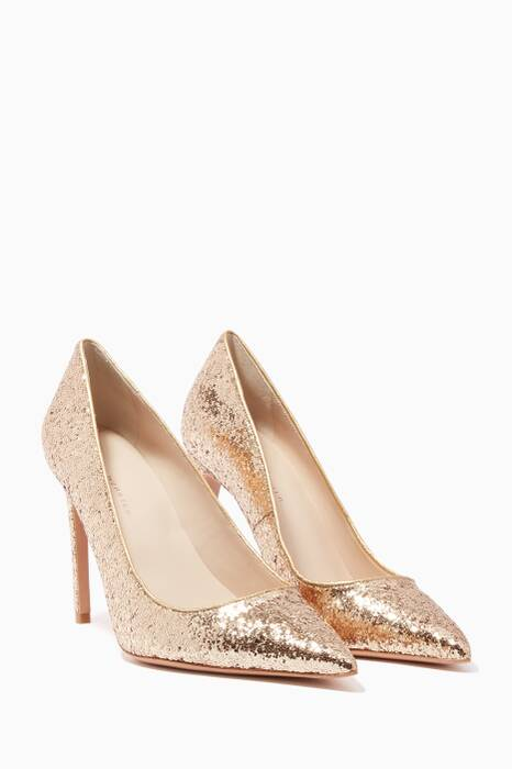 Gold Glitter Rio Point-Toe Pumps