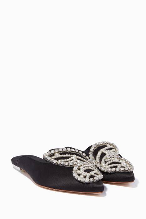 Black Embellished Bibi Butterfly Slippers