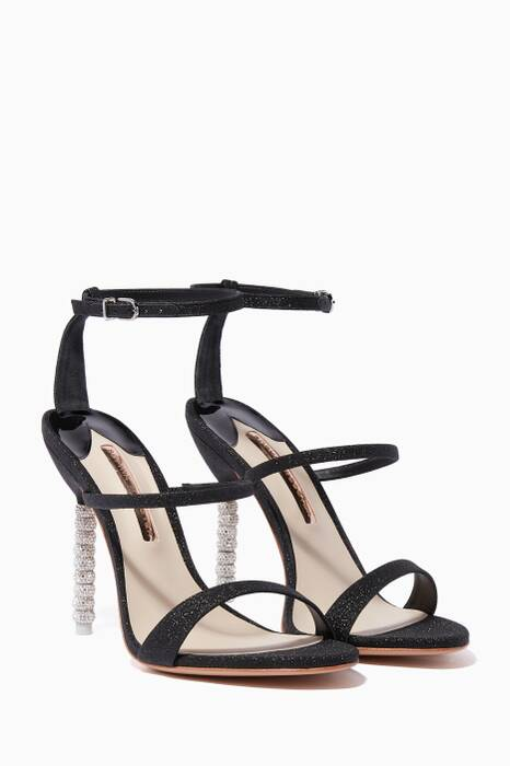 Black Glitter Rosalind Crystal Sandals