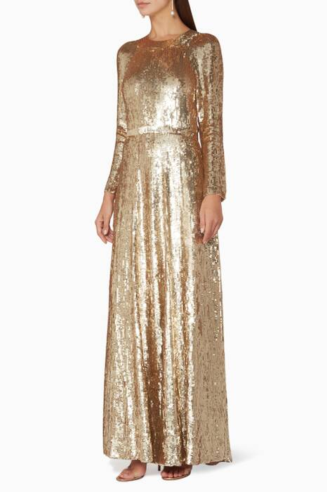 Gold Sequin-Embellished Ray Gown
