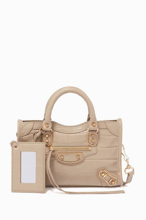 Beige Nano Classic Metallic Edge City Tote Bag