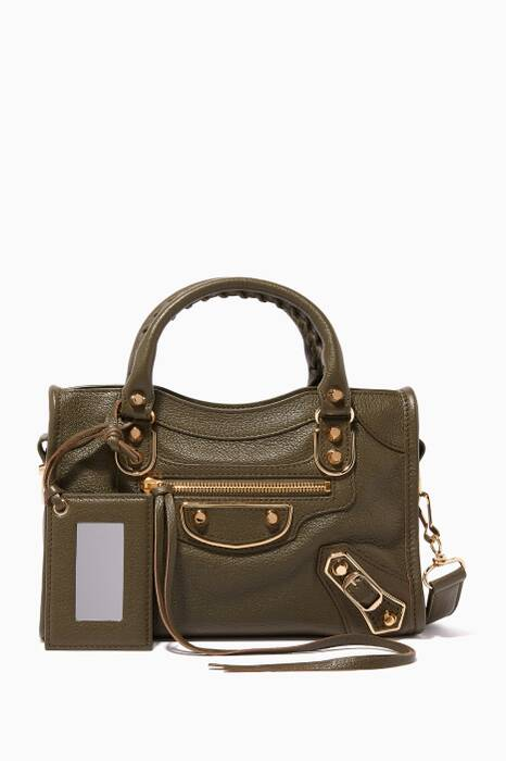 Olive-Green Mini Classic Metallic Edge City Tote Bag
