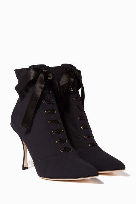 Black Lori Jersey Lace-Up Boots