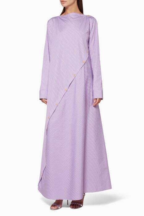Lilac Wrap Striped Dress