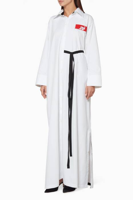 White Noor Logo Shirtdress