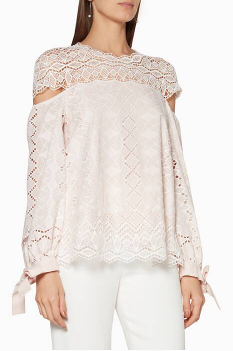 Light-Pink Diamond-Embroidered Blouse