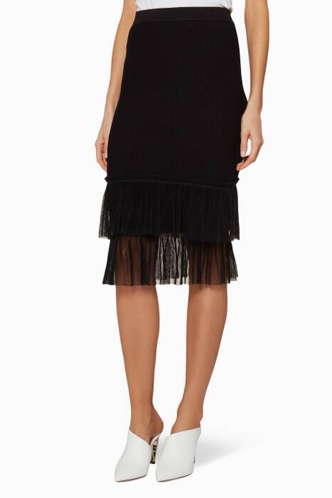 Black Pleated Tulle Ottoman Skirt