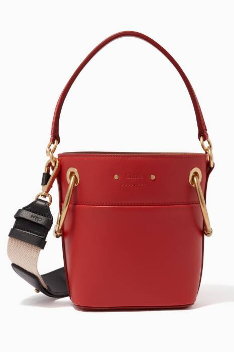 Earthy-Red Small Leather Roy Bucket Bag