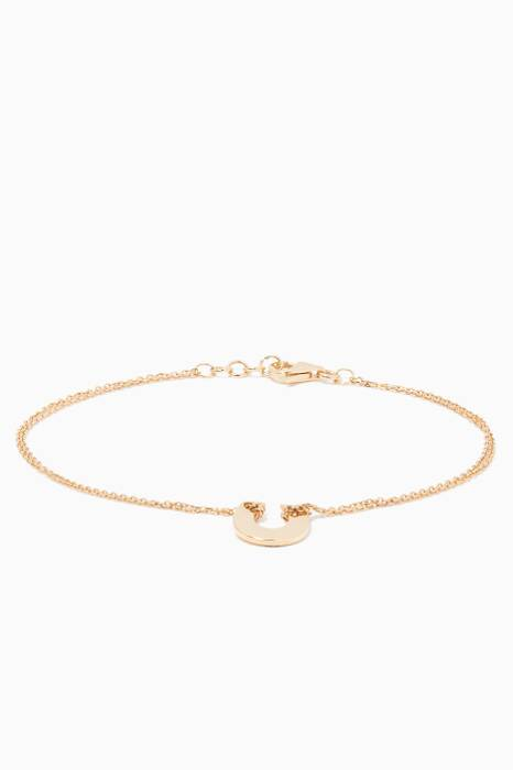 Yellow-Gold Little Hearts Horseshoe Bracelet