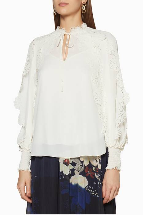 Ivory Floral-Trimmed Blouse