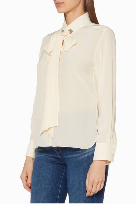 Beige Crêpe De Chine V-neck top