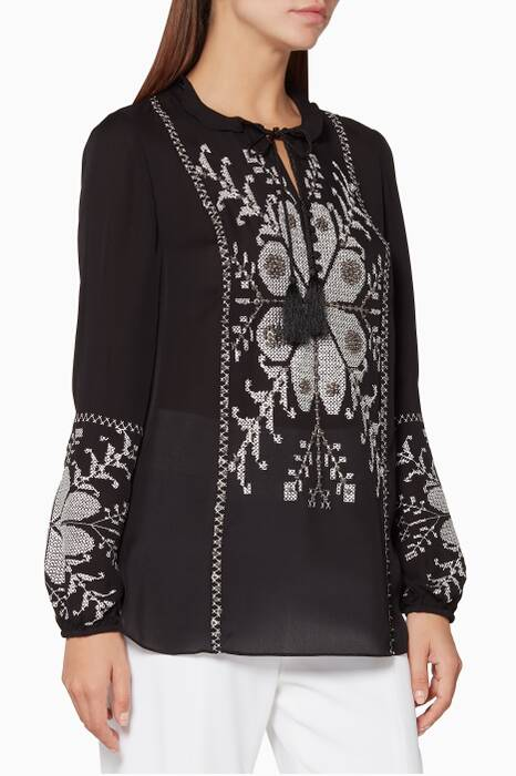 Black Embroidered Madelina Blouse