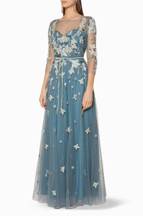 Blue Floral-Appliquéd Gown