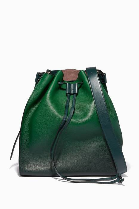 Emerald Drawstring Bucket Bag