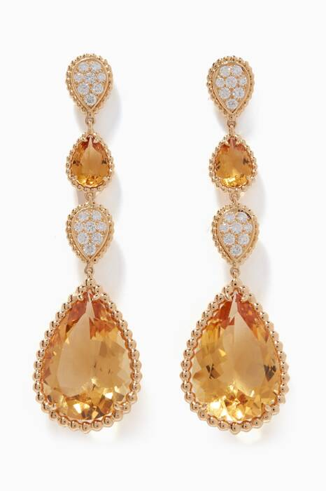 Yellow-Gold & Diamond Serpent Bohème Pendant Drop Earrings