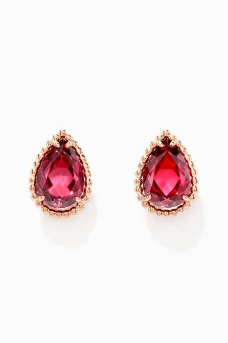 Yellow-Gold & Rhodolite Serpent Bohème Garnets Earrings