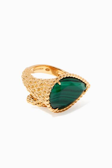 Yellow-Gold & Malachite Serpent Bohème Ring