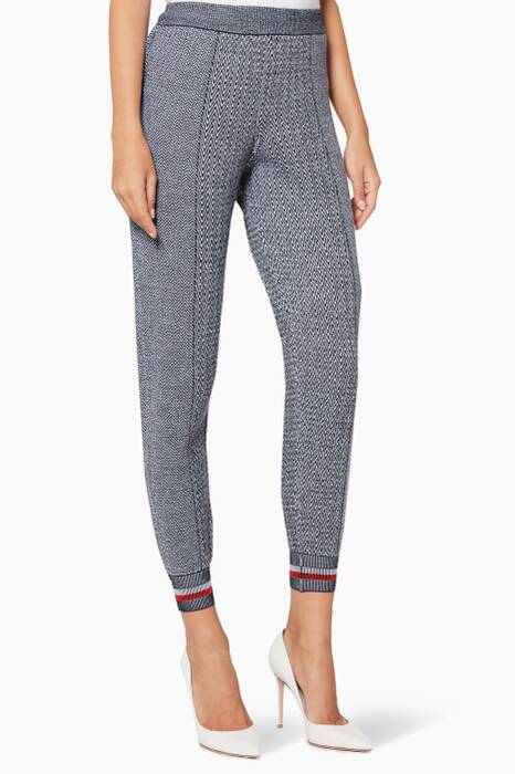 Grey Optical-Print Knit Pants