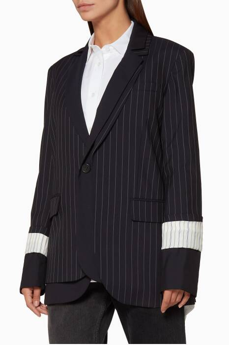 Navy Pinstriped Double-Lapel Jacket