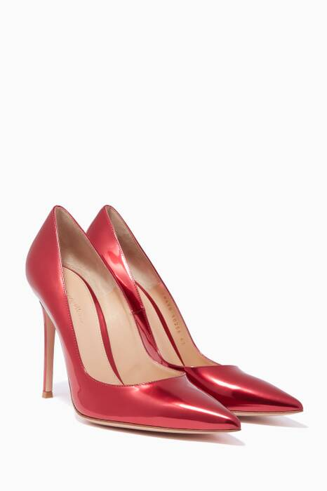 Red Mirrored-Leather Gianvito 105 Pumps