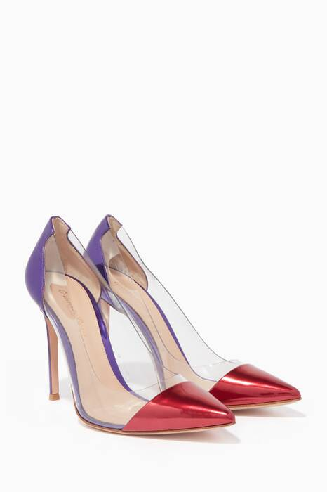 Red & Violet Two-Toe Plexi Point-Toe Pumps