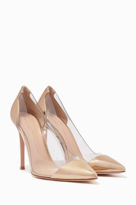 Gold Leather Plexi Pumps