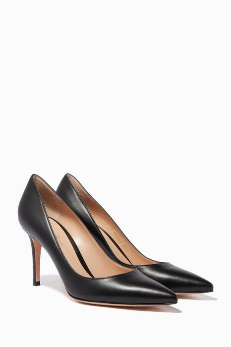 Black Leather Point-Toe Pumps