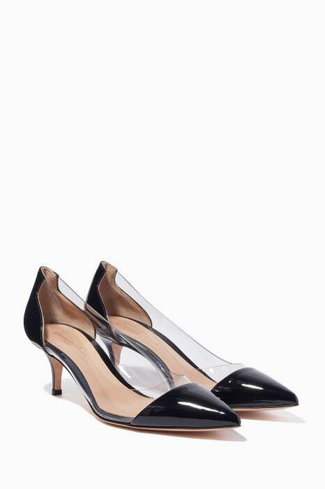 Dark-Blue Patent Leather Plexi Pumps