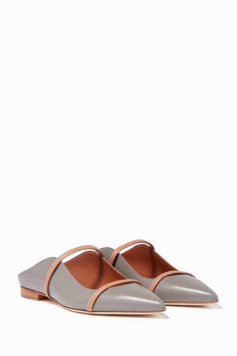 Grey & Nude Maureen Leather Flats