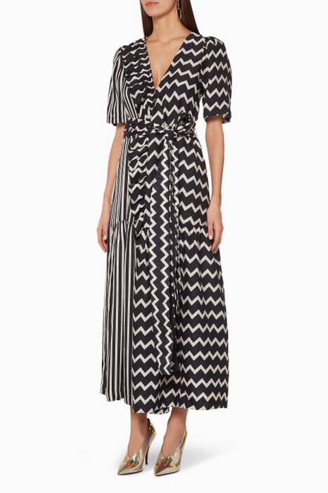 Black Gabrielle Optical-Print Wrap Dress